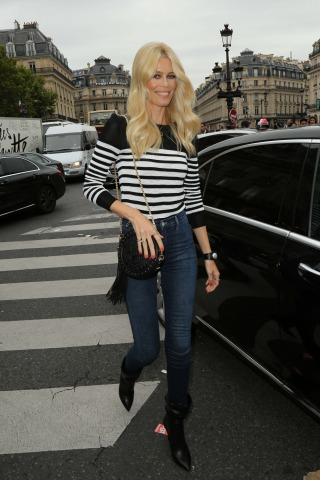 Claudia Schiffer Paris Fashion Week: Balmain Modenschau