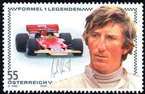 Briefmarke zu Ehren von Jochen Rindt.