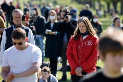 Vor Beginn der Trauerfeier in der St. George's Kapelle wurde eine landesweite Trauerminute zu Ehren von Prinz Philip abgehalten | Credit: TOLGA AKMEN / AFP / picturedesk.com