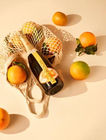 Flasche Chandon Garden Spritz plus Einkaufsnetz und Orangen