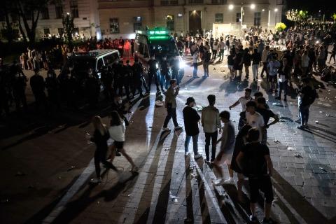 Karlsplatz während der nächtlichen Räumung
