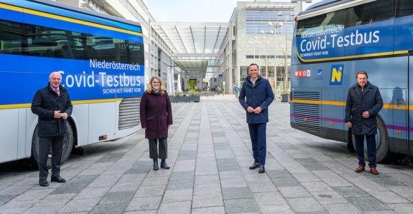 Covid 19-Testbusse unterwegs